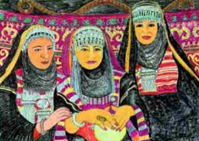 Pastell-Zeichnung  |  Sephardische Frauen in Israel
