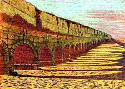 Pastell-Zeichnung  |  Der Aqädukt von Caesarea