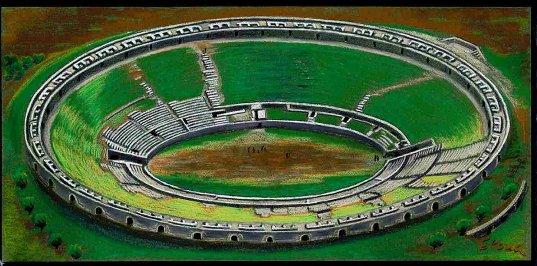 Pastell-Zeichnung  |  Amphitheater von Pompej