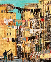 Pastell-Zeichnung  |  Strasse in Neapel