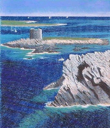 Pastell-Zeichnung  |  Küste vor Stintino, Sardinien