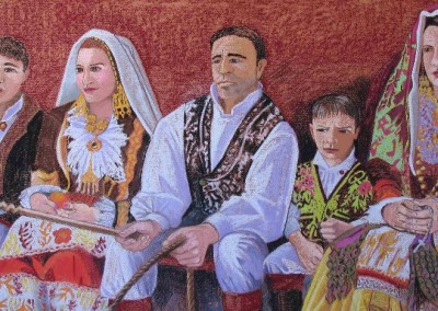 Pastell-Zeichnung  |  Sardische Familie in Festtracht
