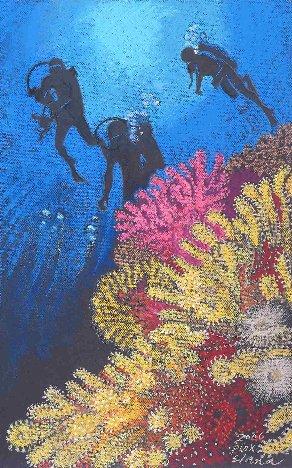 Pastell-Zeichnung  |  Taucher vor der Küste Sardiniens