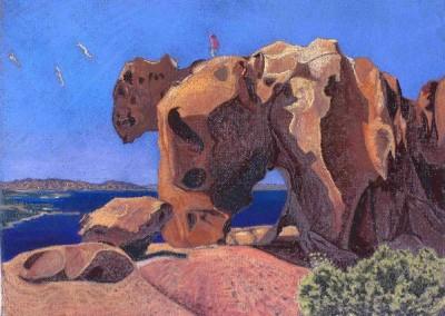 Pastell-Zeichnung  | Der Bärenfels im Norden Sardiniens