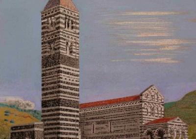 Pastell-Zeichnung  |  Romanische Kirche auf Sardinien